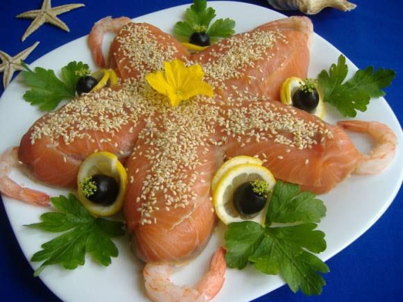 салат морская звезда с красной рыбой рецепт с фото